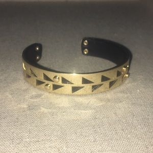 Gold plated leather interior triangle cut out cuff